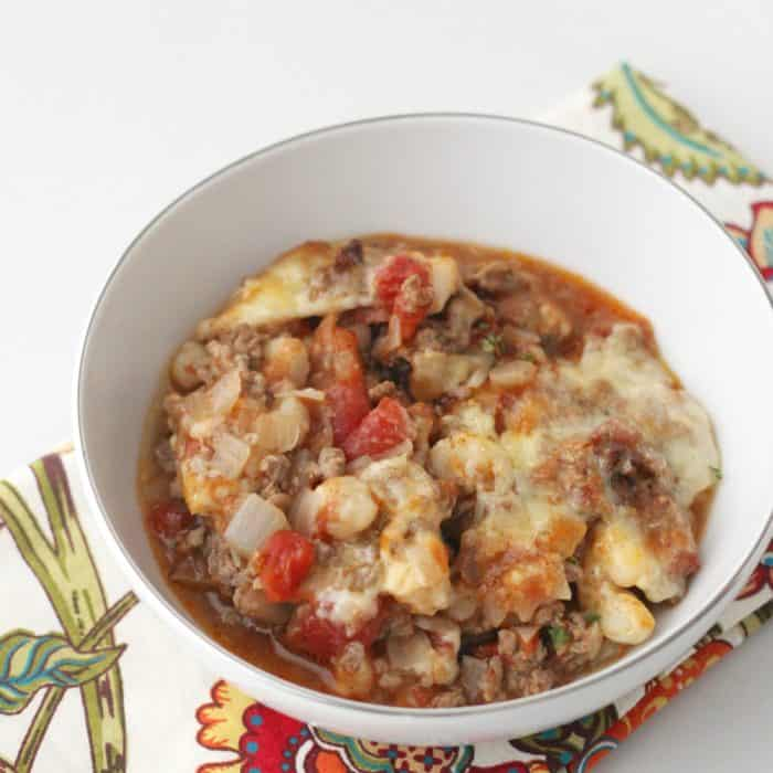 bowl of Beef and Hominy Casserole and a napkin