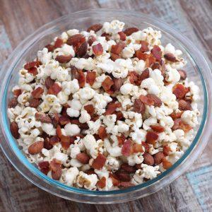 Smoky Almond and Bacon Popcorn