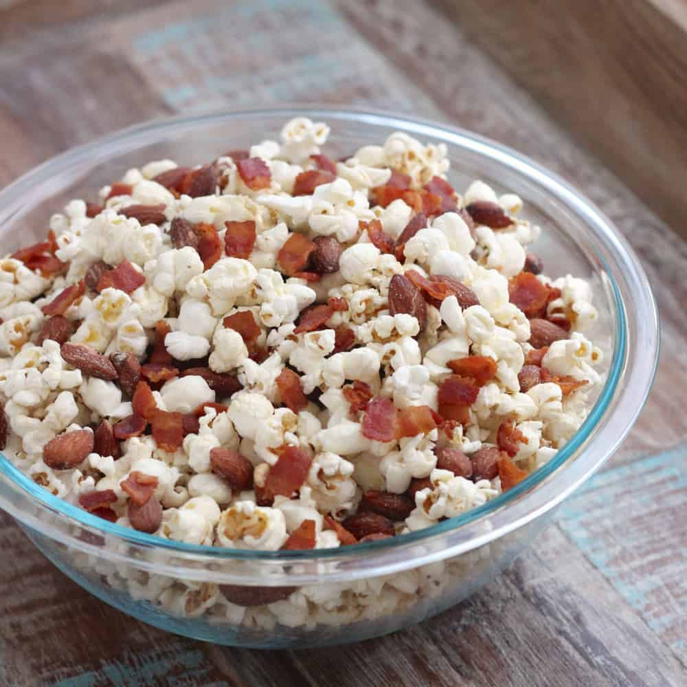 Smoky Almond and Bacon Popcorn from Living Well Kitchen