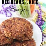 Red Beans and Rice Burgers on white plate, celery stick, carrot sticks, gold purple and green beads