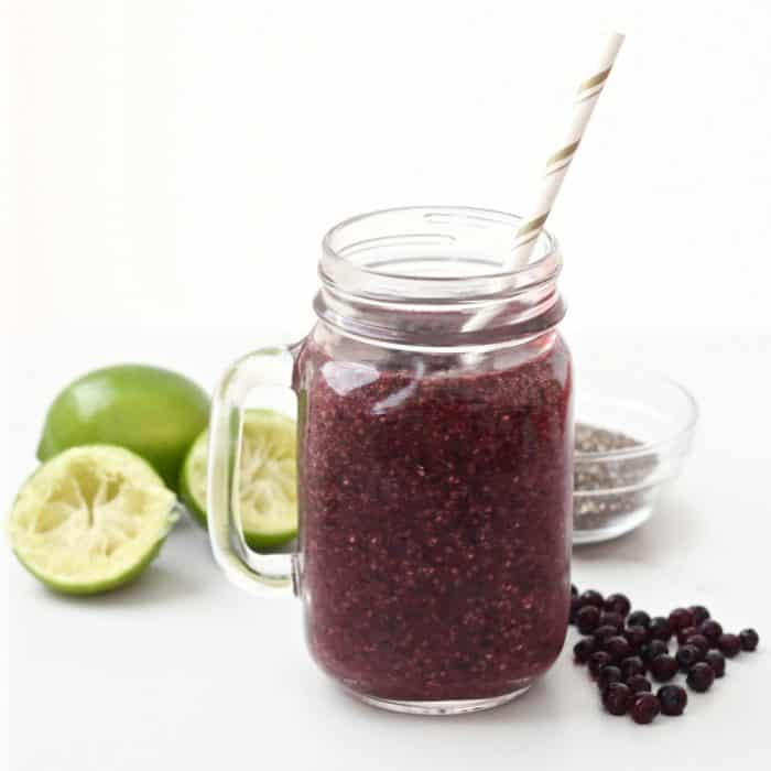 Wild blueberries add a powerful punch to this tangy & sweet smoothie that is fiber-filled, protein-packed, and full of probiotics
