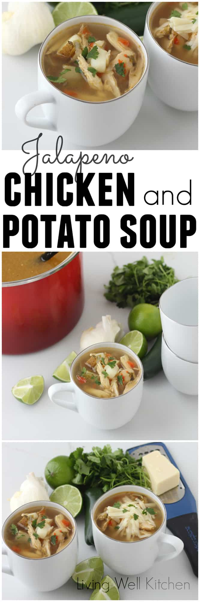 This budget friendly soup uses a whole chicken and tons of veggies for a spicy, tasty, nourishing meal in a bowl. Great to freeze for leftovers, this healthy Jalapeño Chicken and Potato Soup recipe is perfect for dinner or lunch