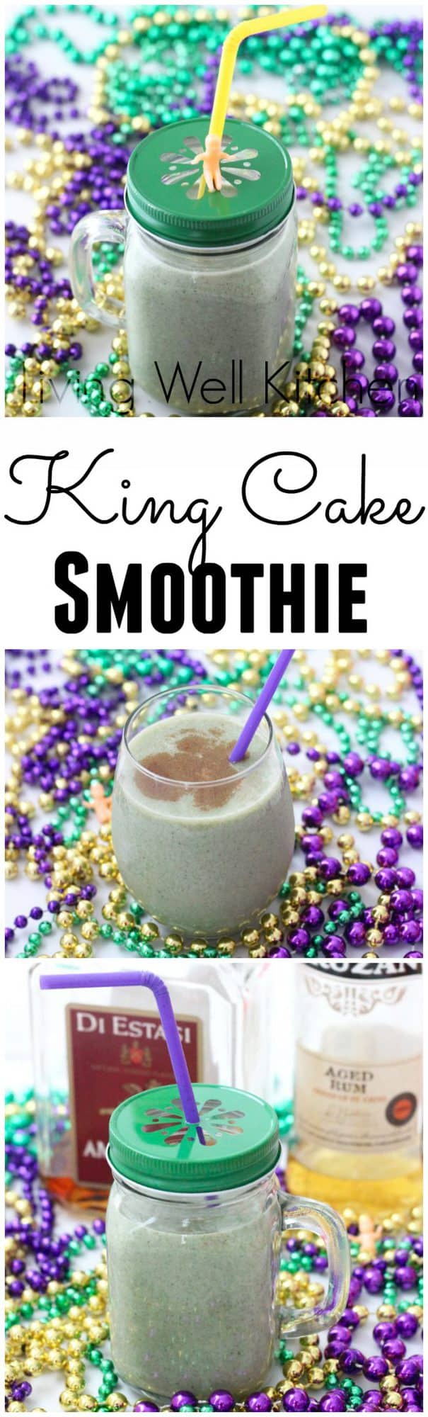 This spiked king cake smoothie is a tasty, nourishing, and filling concoction that'll keep you marching the parade route all day long from Living Well Kitchen @memeinge