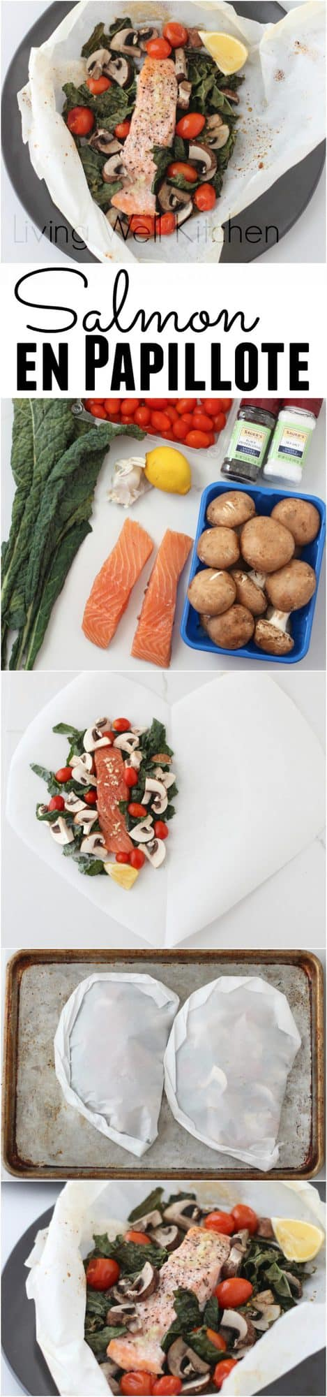 Simple heart health promoting ingredients, tons of veggies, and easy clean up make this Salmon enPapillote recipe a dream come true. Great for a quick, healthy dinner that is full of flavor. Gluten-free, dairy-free