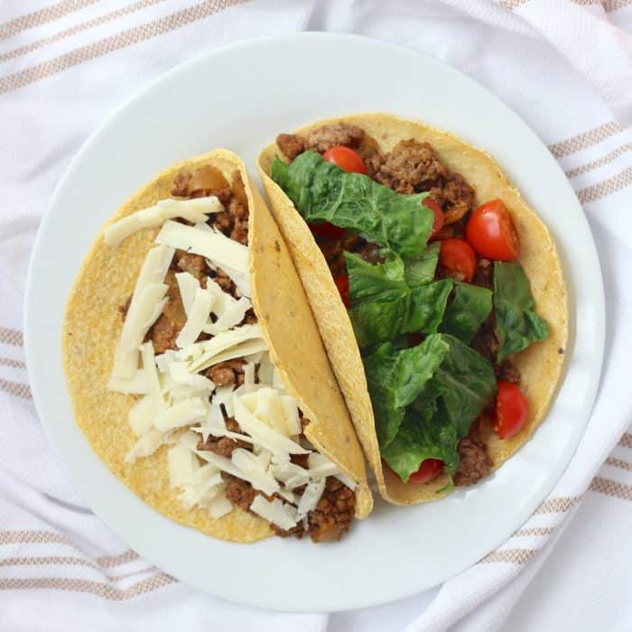 My favorite easy recipe for ground beef tacos that doesn't use taco seasoning packets. Customize the toppings for your family! from Living Well Kitchen
