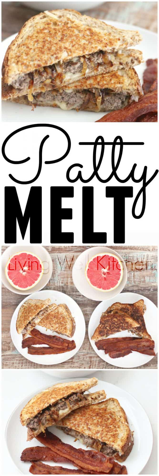 Classic diner food redone, this patty melt is a swiss cheese, ground sirloin, caramelized onion filled treat that will surely satisfy your craving. Patty Melt from Living Well Kitchen @memeinge
