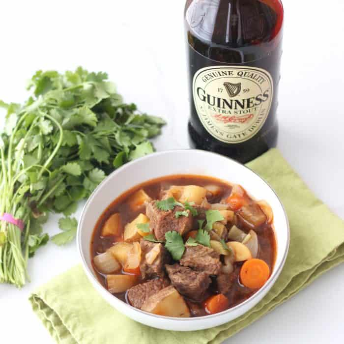 A hearty stew full of meat, potatoes, veggies, and Guinness with a rich broth. Guinness Stew from Living Well Kitchen @memeinge