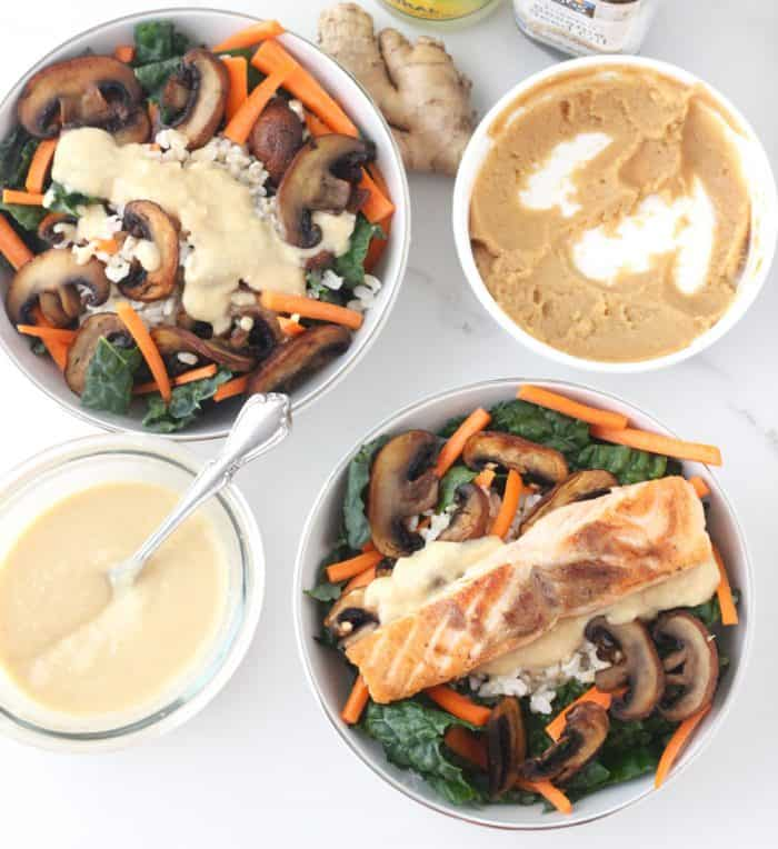 Enjoy a bowl of goodness filled with nourishing kale, filling brown rice, crispy sautéed mushrooms, and sliced carrots all covered in a tasty miso dressing. Miso Brown Rice and Kale Bowl from Living Well Kitchen @memeinge