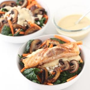two bowls of Miso Brown Rice and Kale Bowl with miso dressing