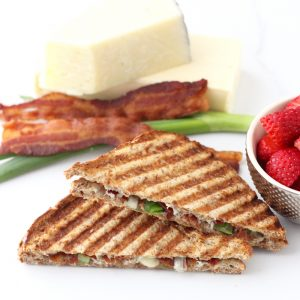 cheese, green onions, bacon, Bacon Grilled Cheese, sliced strawberries
