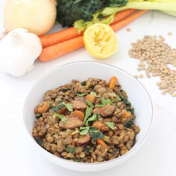 Lentils with Sausage and Kale from Living Well Kitchen