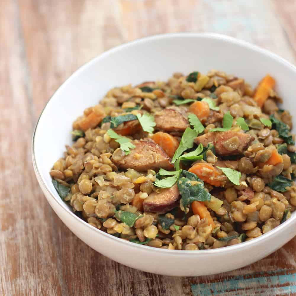 Lentils with Sausage and Kale
