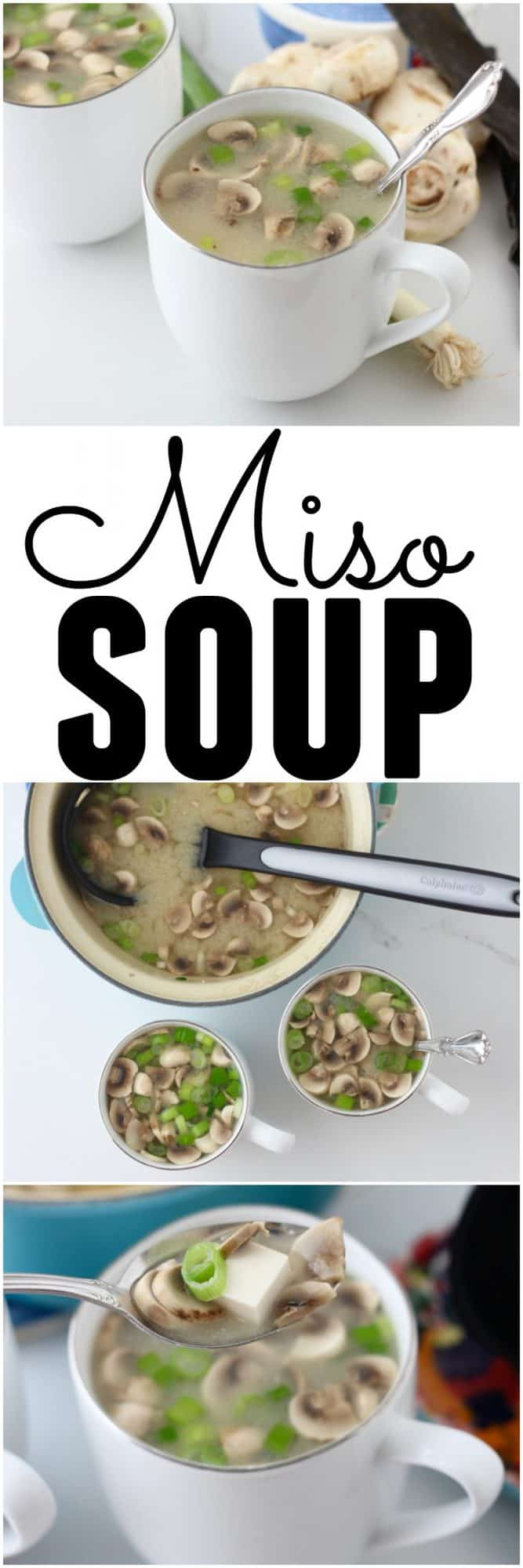 collage of miso soup photos with text