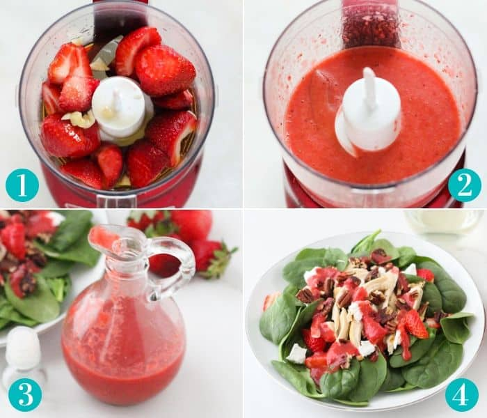 steps to make salad dressing. strawberries in mini food processor, blending, poured into dressing container, salad with strawberry dressing on top