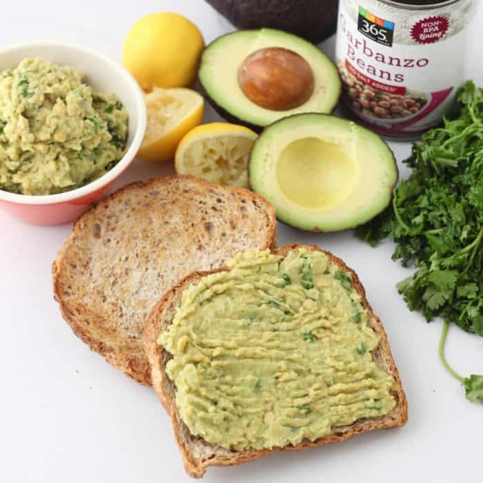 Avocado Chickpea Toast from @memeinge is an easy vegan breakfast or lunch recipe for days when you don't have the energy to cook. Great for a filling, meatless meal