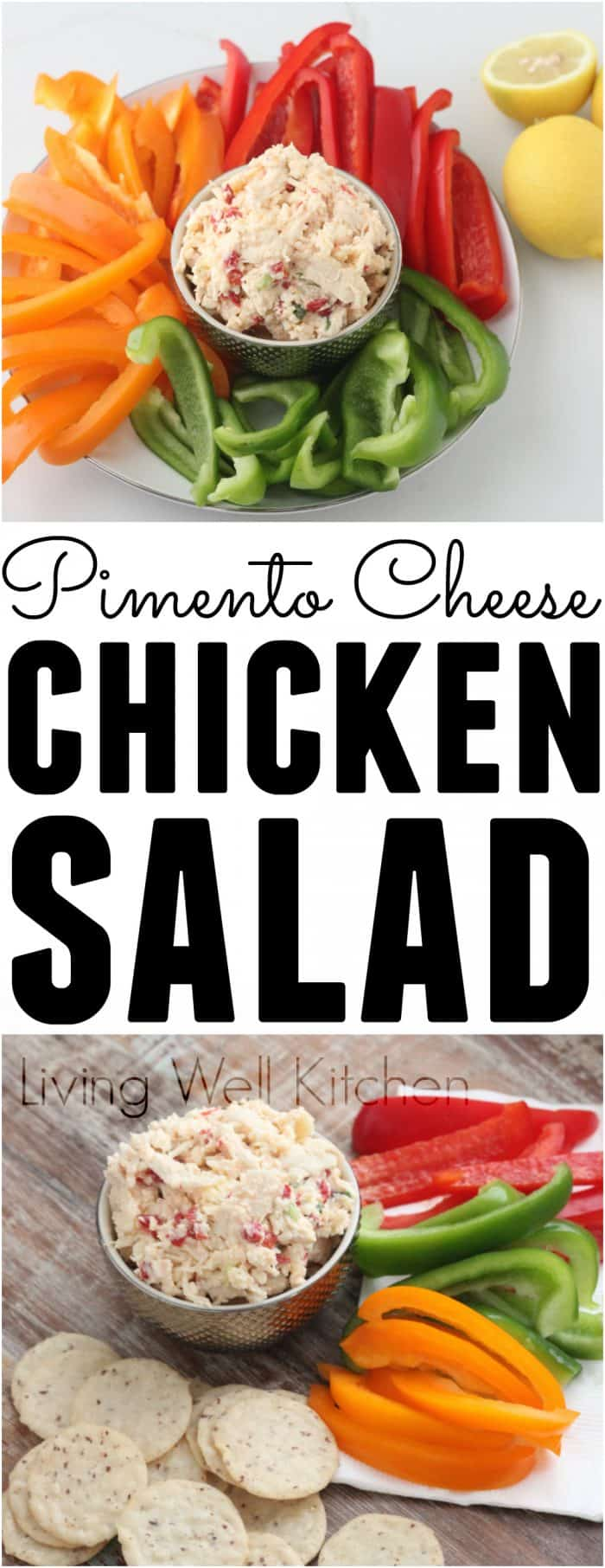 Two refrigerator staples combine to make this nourishing & tasty snack/salad/lunch delight. Filled with protein, Pimento Cheese Chicken Salad will keep you full without much effort in the cooking department.