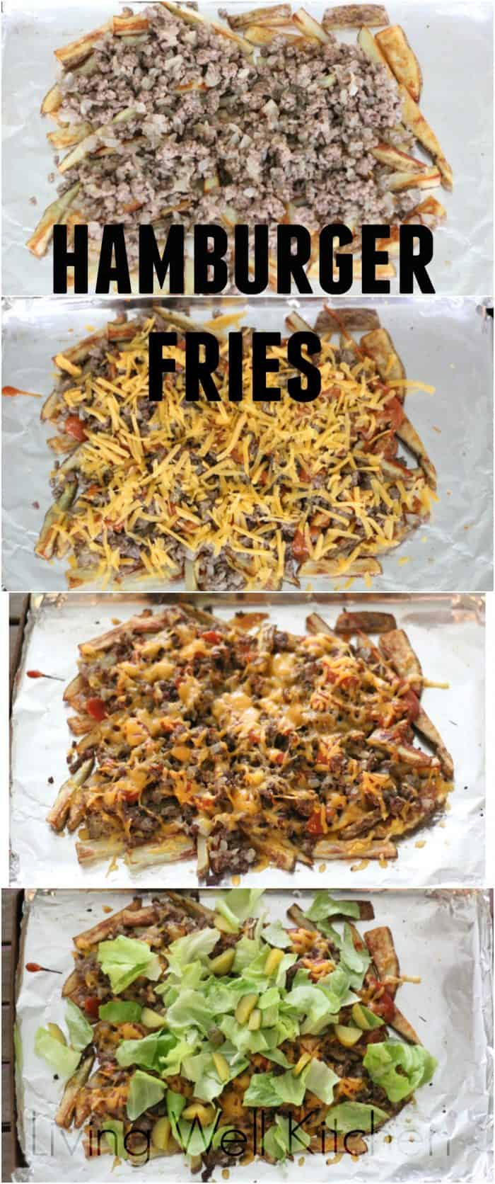 A fun take on a classic pair, these fries are covered in all your favorite burger toppings. Great to serve to a crowd. Hamburger Fries are gluten free and can be dairy free