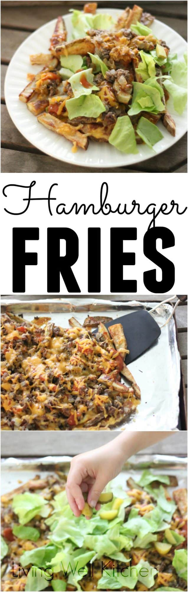 A fun take on a classic pair, these fries are covered in all your favorite burger toppings. Great to serve to a crowd. These Hamburger Fries from @memeinge are gluten free and can be dairy free