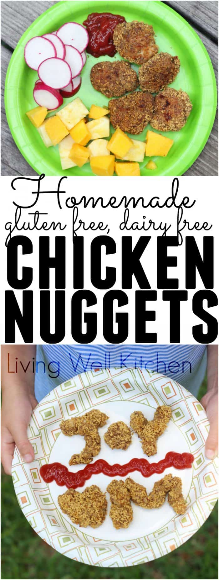 Homemade chicken nuggets photo collage