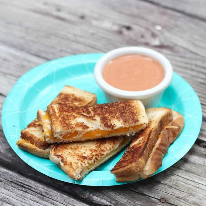 Tasty & easy Grilled Cheese Dippers with Creamy Tomato Sauce are a fun, crowd-pleasing snack or light meal