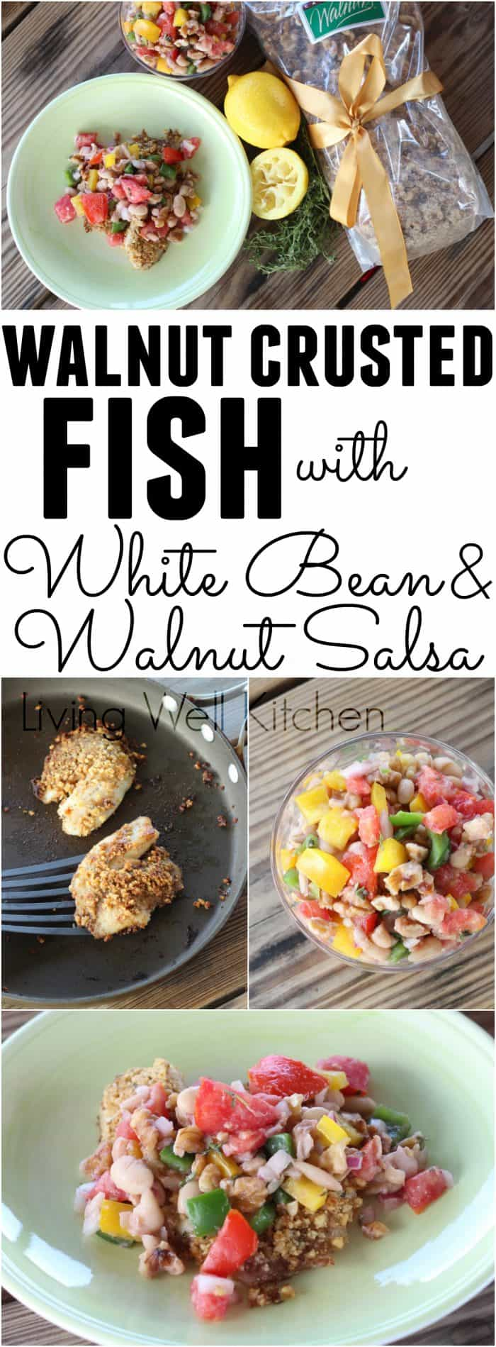 Walnut Crusted Fish with White Bean and Walnut Salsa from @memeinge is a delicious dish full of omega-3 fatty acids, fiber, and tons of tasty summer veggies. This tasty meal is gluten free, egg free, and can be dairy free