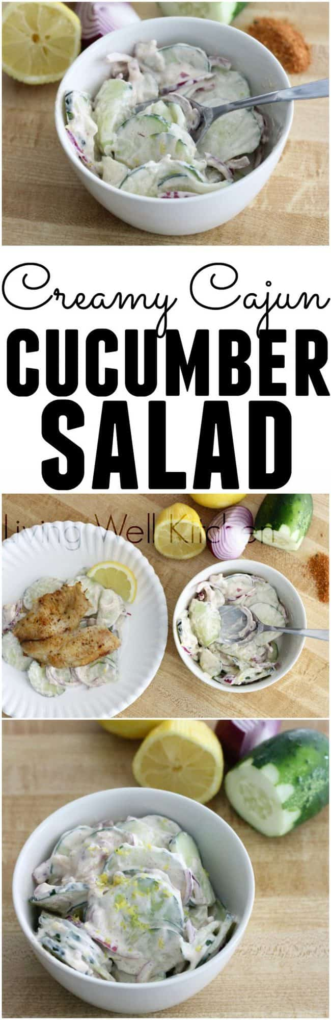 Creamy Cajun Cucumber Salad from @memeinge is an easy, spicy, and fresh side dish great for the summer. Gluten free, egg free, and only 7 simple ingredients