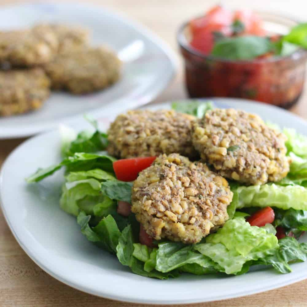 Chickpea Fritters with Tomato Basil Salad