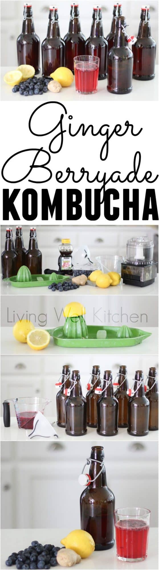 Ginger Berryade Kombucha recipe from @memeinge is a fizzy, delicious, probiotic-filled explosion of the delicious flavors of berries, ginger, and lemonade. Save tons of money by making your own homemade kombucha! It's even tastier than the store bought drink. Video included!