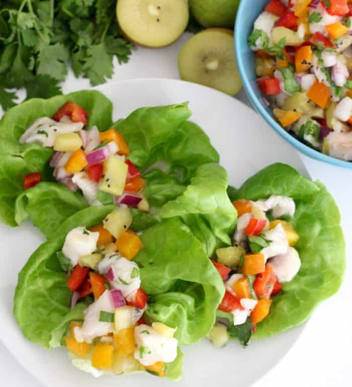 Kiwi Ceviche from @memeinge is a refreshing and delicious main meal or appetizer perfect for enjoying in the warm weather. Gluten free, dairy free, and soy free