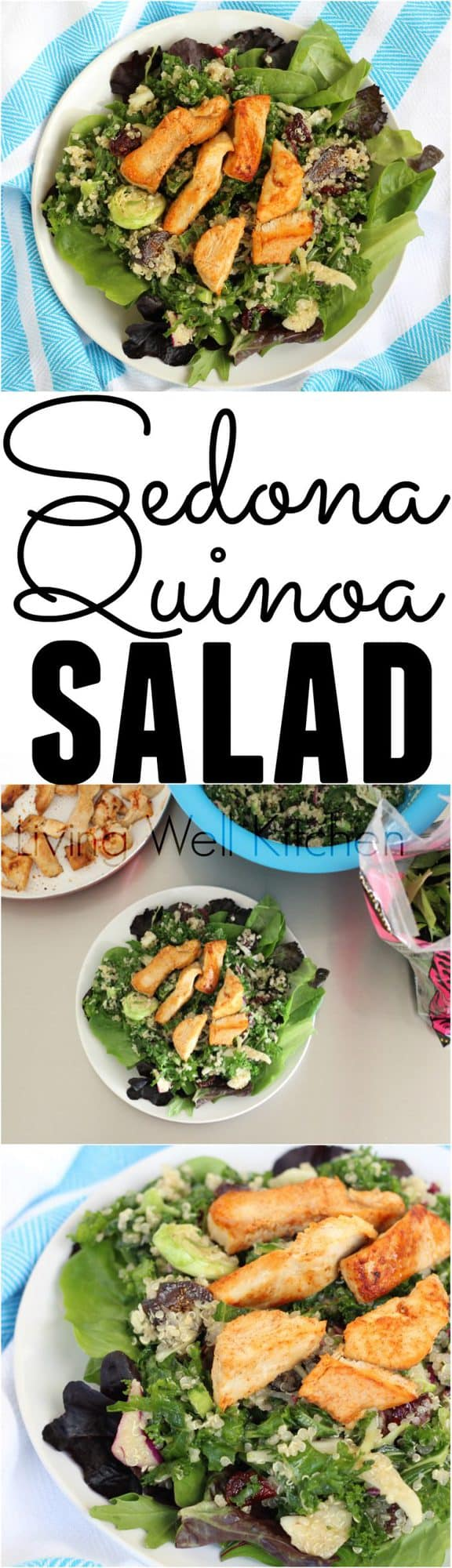 A goodie-filled salad inspired by a meal in Sedona, Arizona. This nourishing Sedona Quinoa Salad from @memeinge is full of veggies, quinoa, dried fruit, and more. This gluten free, dairy free salad recipe can easily be made vegan by substituting chickpeas for the chicken