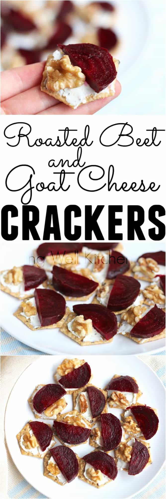 Only four ingredients needed for this easy, flavorful, and filling snack or appetizer that takes minutes to make thanks to pre-roasted beets. Roasted Beet and Goat Cheese Crackers from @memeinge