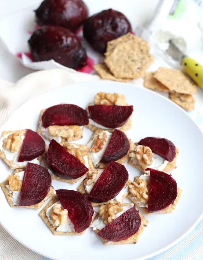 Roasted Beet and Goat Cheese Crackers from Living Well Kitchen