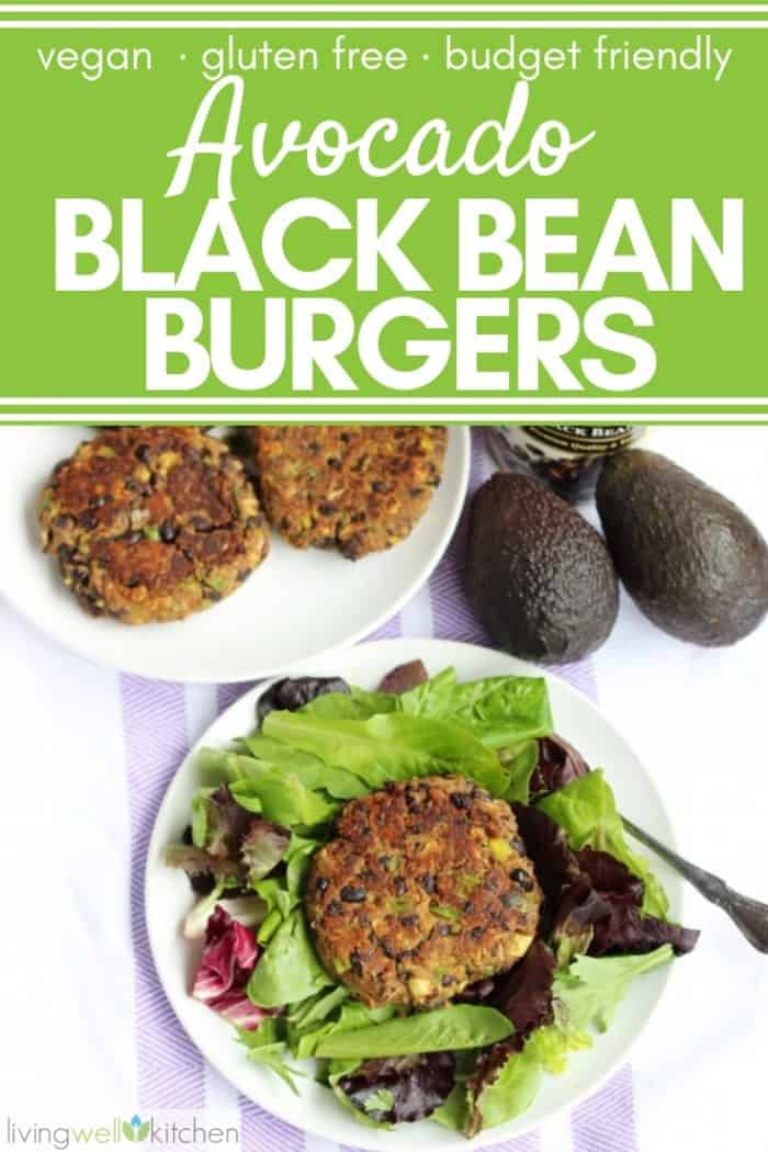 avocado black bean burgers with text