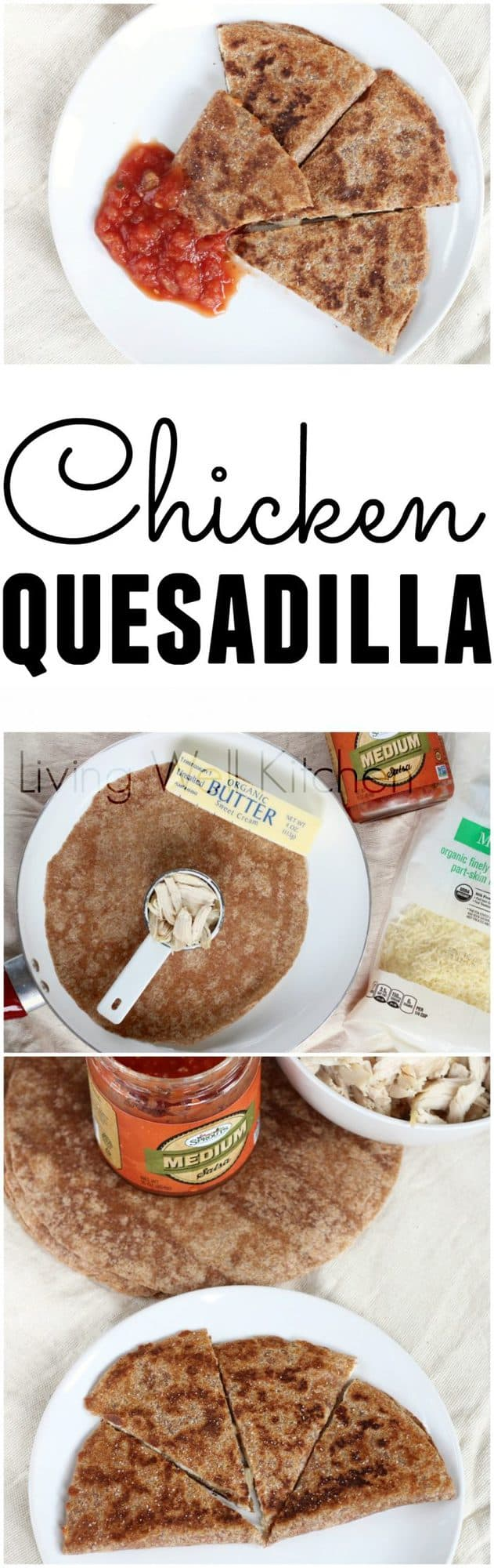 A basic chicken and cheese quesadilla is the answer to your hunger for filling comfort food that doesn't have to be unhealthy. This quesadilla recipe is easy to customize to fit your taste preferences and is a filling & delicious snack or can even be lunch or dinner when paired with fruits and veggies.