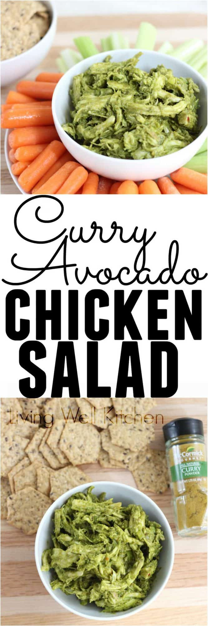 Avocado and curry powder come together to make this tasty chicken salad that is free of dairy, gluten, eggs, soy, and nuts. This Curry Avocado Chicken Salad recipe is great for a healthy, high protein snack, lunch, or light dinner!