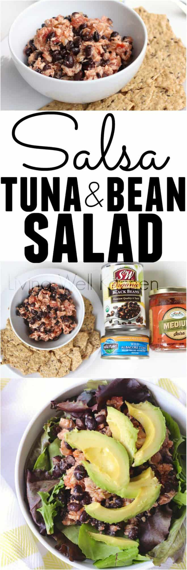 Only three ingredients and three minutes of prep time for a high protein, incredibly filling meal or snack. Pantry staples are one of the keys to making inexpensive meals in a jiffy, and this recipe for Salsa Tuna and Bean Salad uses just canned ingredients (but tastes delicious!). It is gluten free, dairy free, egg free, and soy free