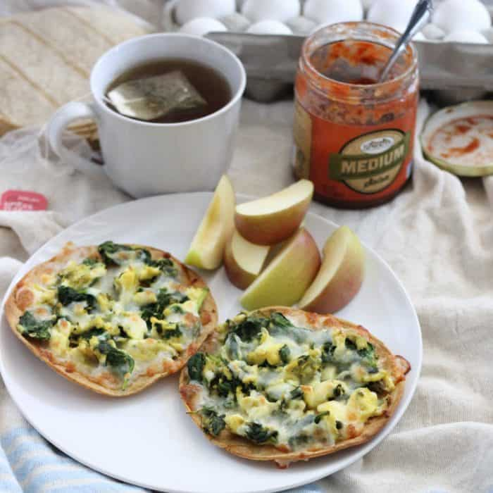 Breakfast Tostadas with apples, tea, and salsa