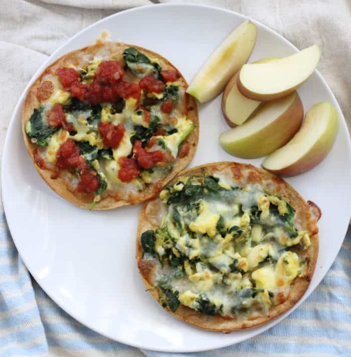 Breakfast Tostadas with salsa and apples