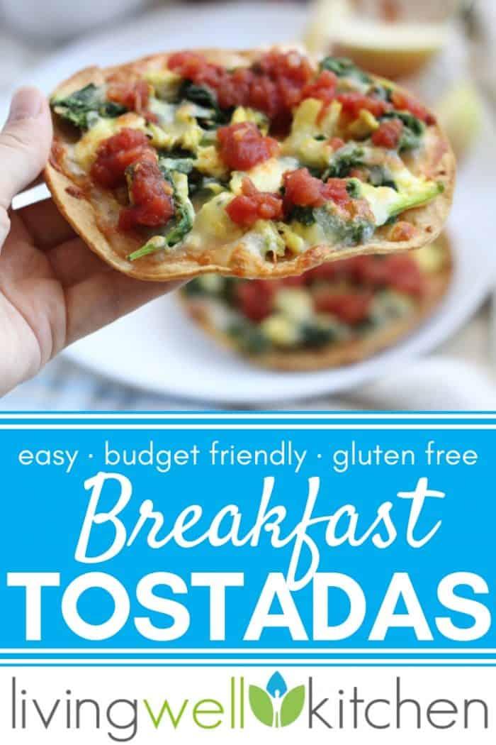 hand holding breakfast tostadas