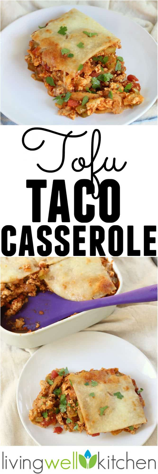 Using tofu in this tasty taco casserole keeps your budget in check while adding fiber and plant based protein. This Tofu Taco Casserole recipe is a healthy casserole great for a meatless dinner and leftovers are delicious, too! Gluten free and can be vegan by using dairy free cheese