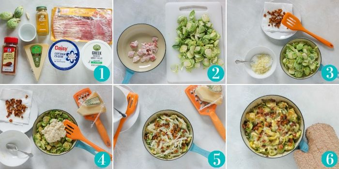 step by step photos making brussels sprouts dip in small teal skillet