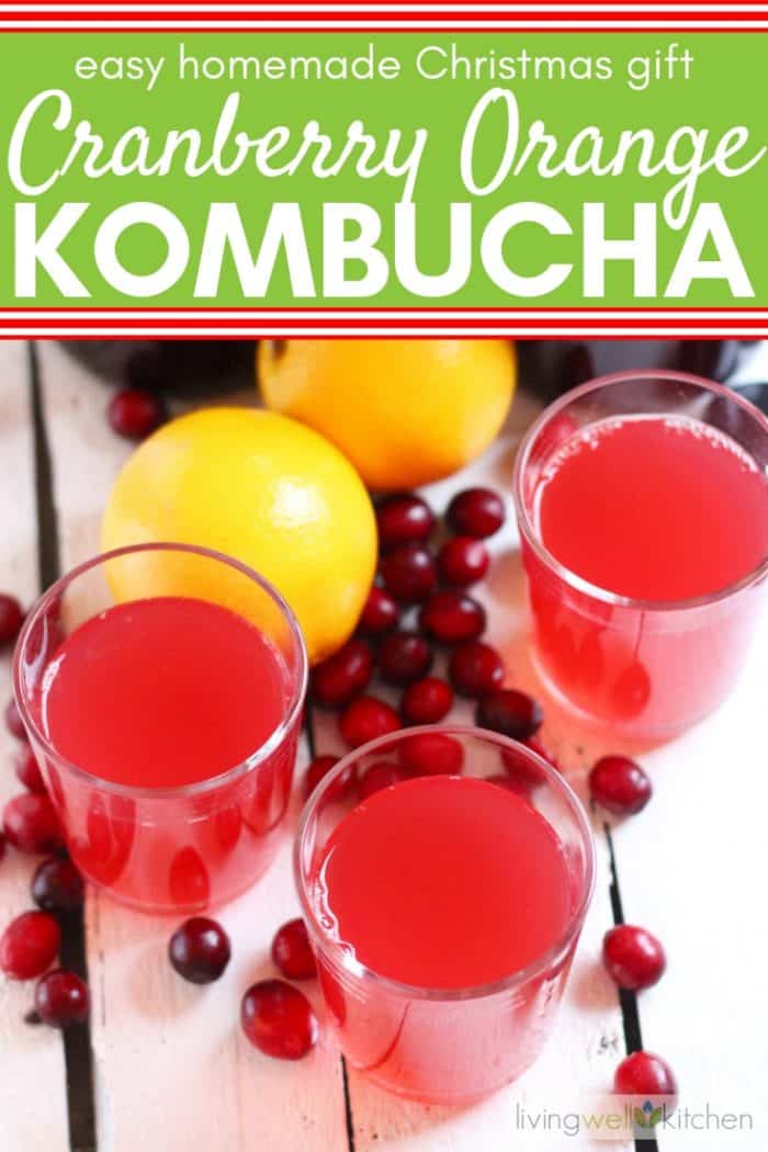 glasses of kombucha cranberry kombucha with fresh cranberries and oranges