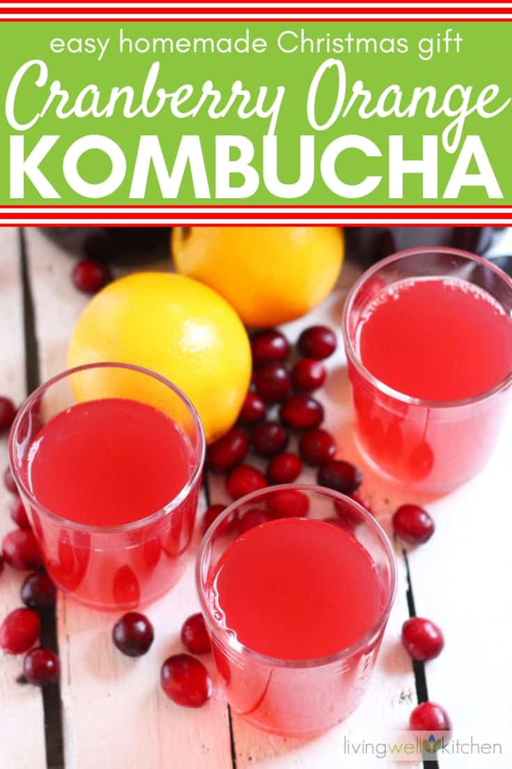 How to make Cranberry Orange Kombucha. Grab some oranges and cranberries to make this tasty kombucha recipe. Fermented beverages are great for gut health, and this kombucha recipe is great for daily drinking, making cocktails, or gifting for the holidays. Fun DIY Christmas gift idea. #kombucha #guthealth #Christmasgifts