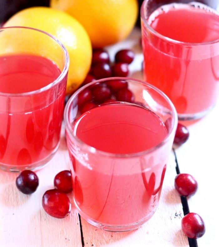 close up photo of a glass of Cranberry Orange Kombucha