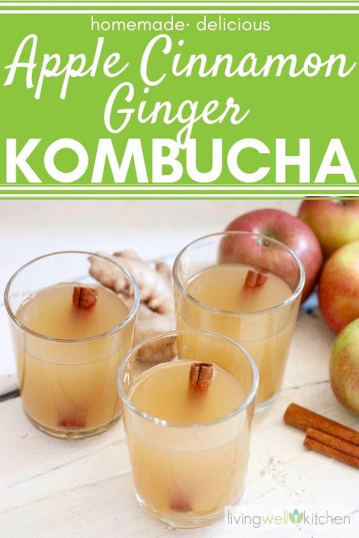 apple cinnamon ginger kombucha glasses with cinnamon sticks