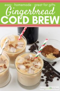 homemade gingerbread lattes with holiday straws