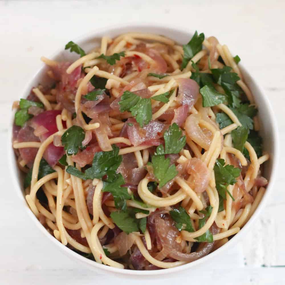 Garlicky Caramelized Onion Pasta from Living Well Kitchen