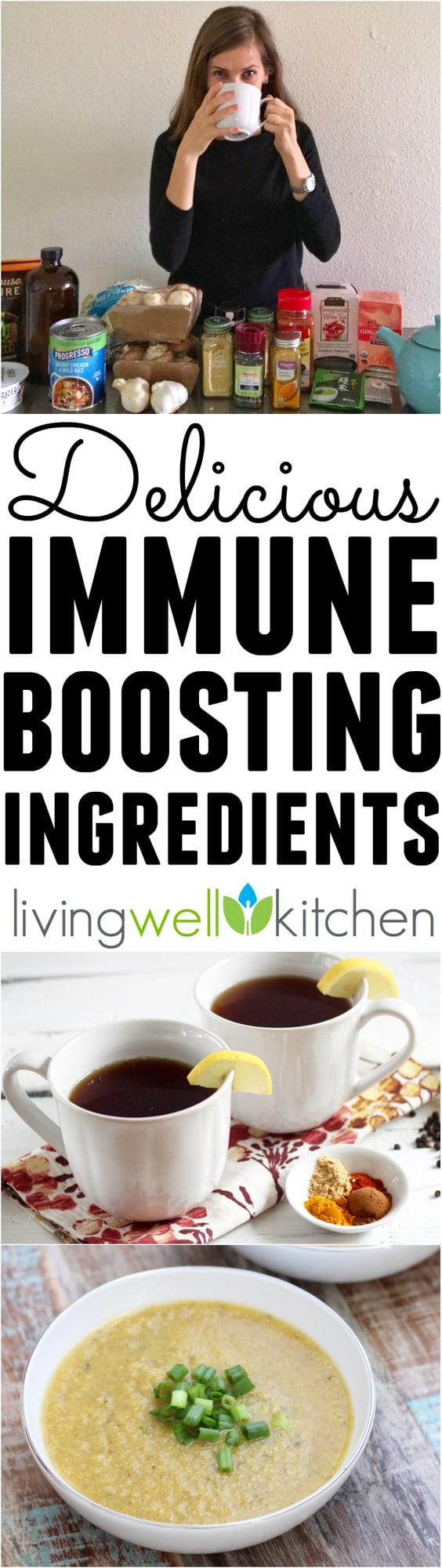 Five Tasty Ideas to Help Boost Your Immune System from Living Well Kitchen, so you can fight off getting sick. Includes foods and beverages with recipes to keep you and your family healthy this year