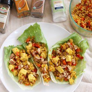 Tofu and Rice Lettuce Wraps