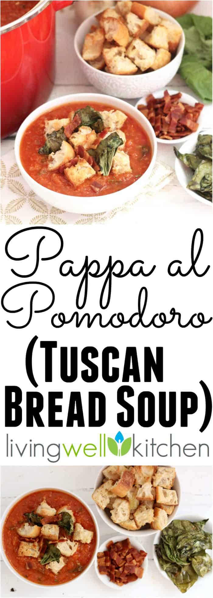 Pappa al Pomodoro, or Tuscan Bread Soup, from @memeinge is a rich soup filled with veggies then topped with crispy basil, homemade croutons and bacon. Great recipe to feed a crowd for dinner or freeze for later. Dairy free and can be vegan
